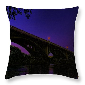 Night Glow On The Gervais Bridge Throw Pillow