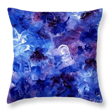Throw Pillow featuring the painting  Painting Of Flowers Energy In Abstract Form by Annie Zeno