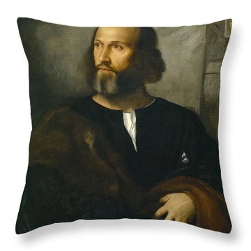 Portrait Of A Bearded Man Throw Pillow by Titian