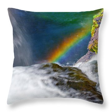 Rainbow By The Waterfall Throw Pillow