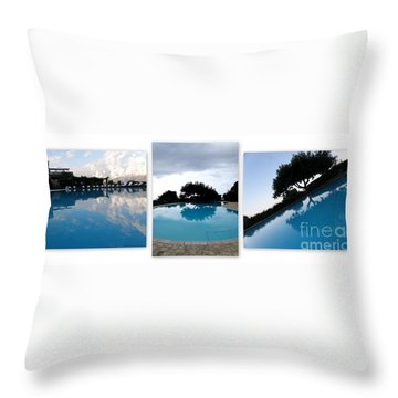 Amalfi Coast Pool Reflections Throw Pillow