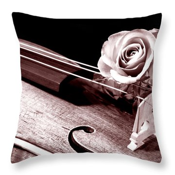 Rose Violin Viola Throw Pillow