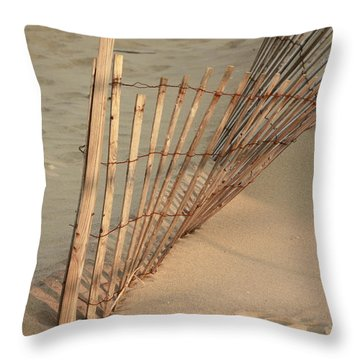 Sandy Beach Fence Throw Pillow by Ann Murphy