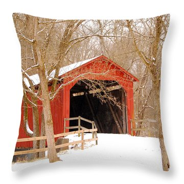 Throw Pillow featuring the photograph  Sandy Creek Cover Bridge  by Peggy Franz