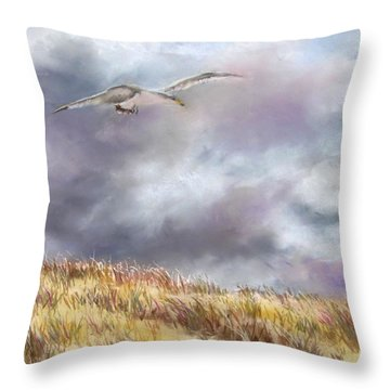 Seagull Flying Over Dunes Throw Pillow by Jack Skinner