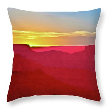 Throw Pillow featuring the painting   Sunset At Grand Canyon Desert View by Bob and Nadine Johnston