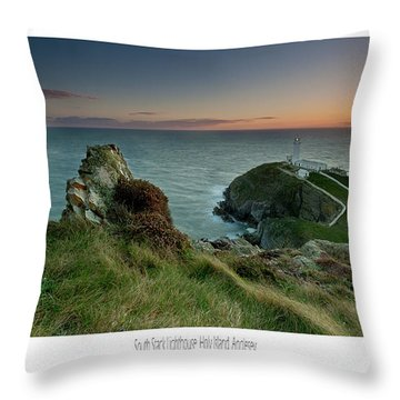 Throw Pillow featuring the photograph  Sunset At South Stack Lighthouse by Beverly Cash