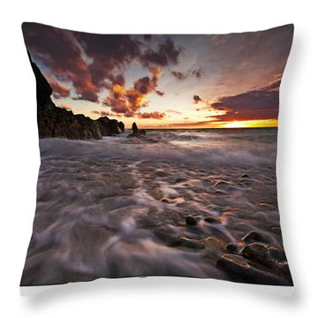 Sunset Tides - Porth Swtan Throw Pillow