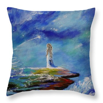 Sweet Little Wishes Throw Pillow by Leslie Allen