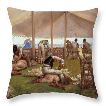 The Sheep Shearing Match Throw Pillow by Eyre Crowe