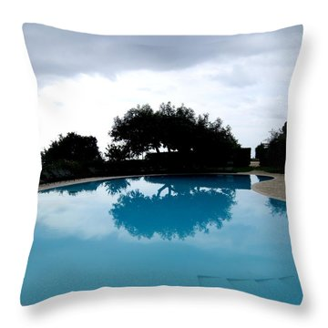 Throw Pillow featuring the photograph  Tree At The Pool On Amalfi Coast by Tanya  Searcy