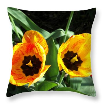 Throw Pillow featuring the photograph  Twintulips by Judy Via-Wolff