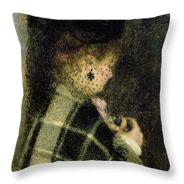 Young Woman With A Small Veil Throw Pillow by Pierre Auguste Renoir