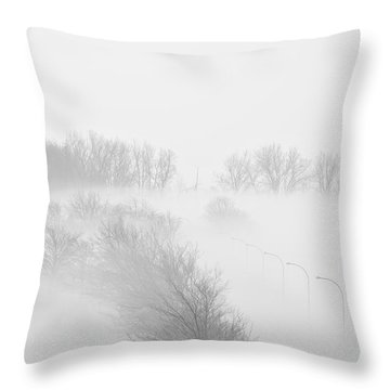 023 Buffalo Ny Weather Fog Series Throw Pillow by Michael Frank Jr