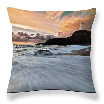 Llanddwyn Island Lighthouse Throw Pillow