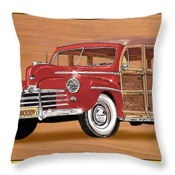 1946 Ford Woody Throw Pillow by Jack Pumphrey