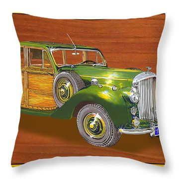 1947 Bentley Shooting Brake Throw Pillow by Jack Pumphrey