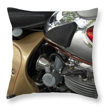1966 Bsa 650 A-65 Spitfire Lightning Clubman Motorcycle Throw Pillow by Jill Reger