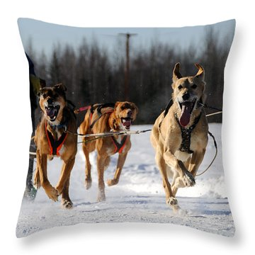 2011 Limited North American Sled Dog Race Throw Pillow by Gary Whitton