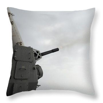 A Close-in Weapons System Is Fired Throw Pillow by Stocktrek Images