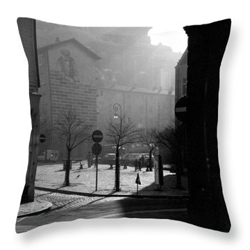 A Square In Old Brussels Throw Pillow