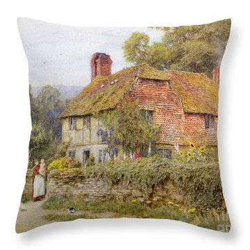 A Surrey Cottage Throw Pillow by Helen Allingham