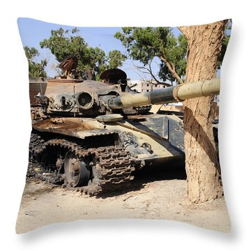 A T-72 Tank Destroyed By Nato Forces Throw Pillow by Andrew Chittock