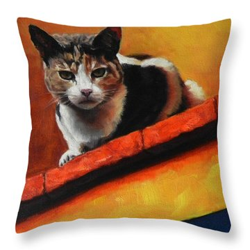 A Top Cat In The Shadow, Peru Impression Throw Pillow