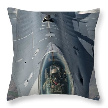A U.s. Air Force F-16c Fighting Falcon Throw Pillow by Giovanni Colla