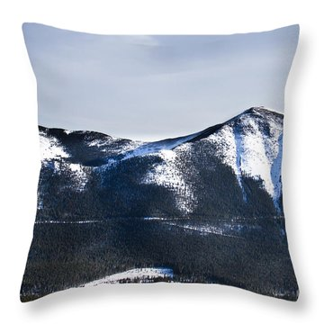 A View Of Snowy Mountains From Pikes Peak Throw Pillow by Ellie Teramoto