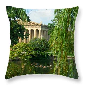 A View Of The Parthenon 17 Throw Pillow by Douglas Barnett