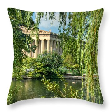 A View Of The Parthenon 8 Throw Pillow by Douglas Barnett