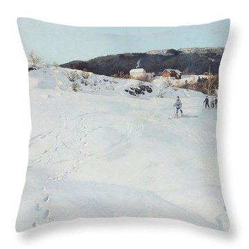 A Winter's Day In Norway Throw Pillow by Fritz Thaulow