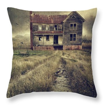 Abandoned Eerie Farmhouse With Dark Clouds Throw Pillow by Sandra Cunningham
