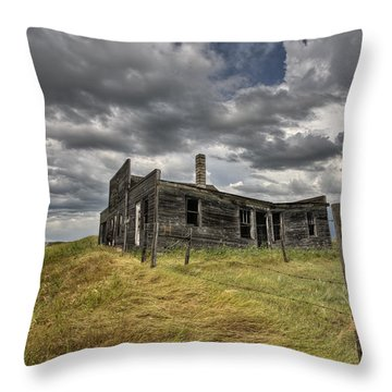 Abandoned Farmhouse Saskatchewan Canada Throw Pillow by Mark Duffy