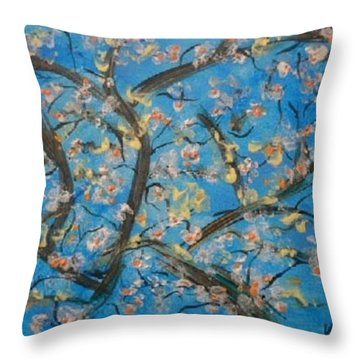 Almond Blossom  Throw Pillow by Kelly Turner