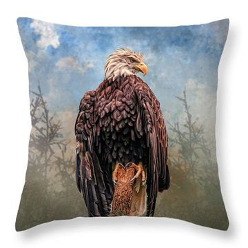 Throw Pillow featuring the digital art American Bald Eagle by Mary Almond