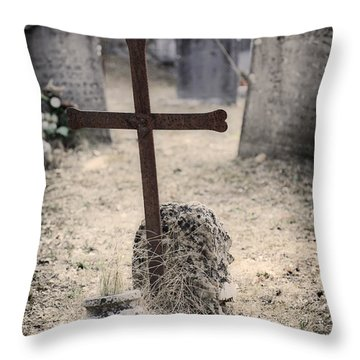An Old Cemetery With Grave Stones Throw Pillow by Joana Kruse