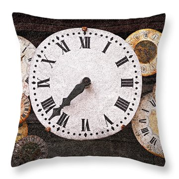 Antique Clocks Throw Pillow by Elena Elisseeva