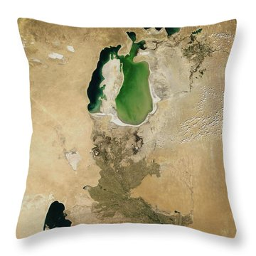 Aral Sea Throw Pillow by NASA / Science Source