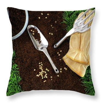 Assortment Of Garden Tools On Earth Throw Pillow by Sandra Cunningham