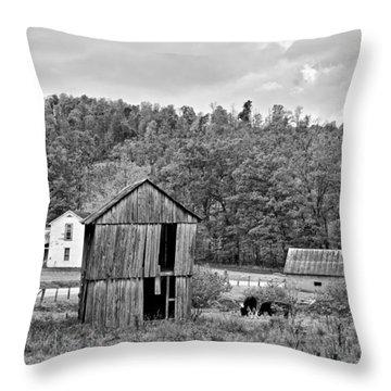Autumn Farm Monochrome Throw Pillow by Steve Harrington