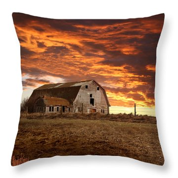 Barn On Highway 21 Throw Pillow