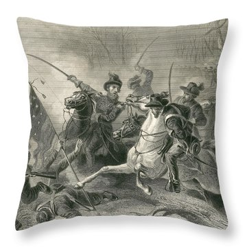 Battle Of Shiloh, Charge Of General Throw Pillow by Photo Researchers