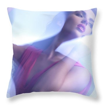 Beauty Photo Of A Woman In Shining Blue Settings Throw Pillow by Oleksiy Maksymenko