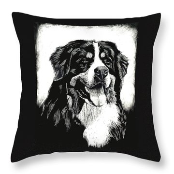 Throw Pillow featuring the drawing Bernese Mountain Dog by Rachel Hames