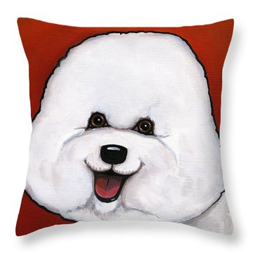 Bichon Frieze Throw Pillow by Leanne Wilkes