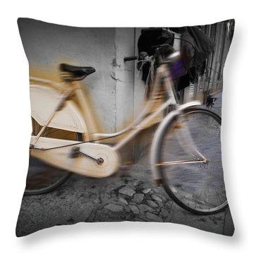 Bike Throw Pillow by Charles Stuart