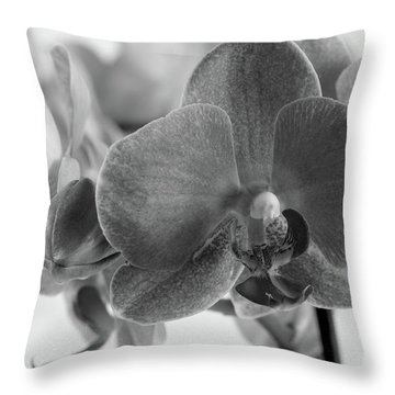 Black And White Orchid Throw Pillow