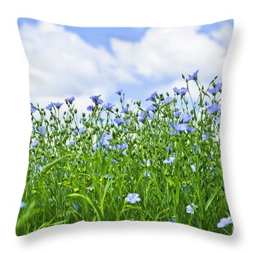 Blooming Flax Field Throw Pillow by Elena Elisseeva